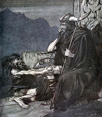 Hagen (legend) - The Dwarf Alberich talks to Hagen, by Arthur Rackham.