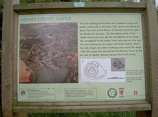 Sign describing Nether Stowey castle - geograph.org.uk - 2039515