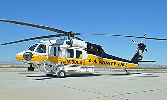 Sikorsky S-70 - Los Angeles County Fire Department S-70A Firehawk sitting on the tarmac at Fox field