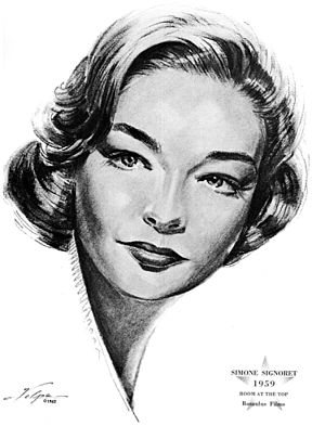 Simone Signoret - Drawing after she won an Oscar in 1959, by artist Nicholas Volpe