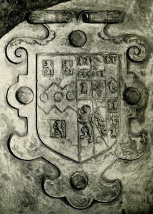 Stevenstone - 1602 escutcheon within a strapwork surround, showing the arms of Sir Henry Rolle (1545-1625) impaling Watts, of 6 quarters, the family of his first wife. Abbots Lodge, Cathedral Close, Exeter (destroyed in WW II)