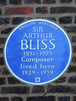 Sir arthur bliss 1891 1975 composer lived here 1929 1939