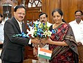 Smt. Nirmala Sitharaman being greeted by the Minister of State for Defence, Dr. Subhash Ramrao Bhamre after taking charge as the Union Minister for Defence, in New Delhi on September 07, 2017.jpg