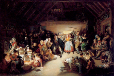 snap apple night painted by daniel maclise in 1833 shows people feasting and playing divination games on halloween in ireland
