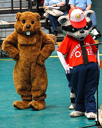 OMER the raccoon (right) is the mascot of Odys...