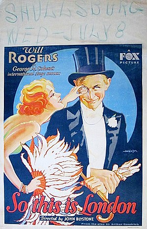 So This Is London (1930 film) - Window poster featuring Will Rogers