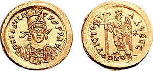 Armatus - Solidus issued by Basiliscus during his short reign. Armatus supported his relative Basiliscus in his revolt against Emperor Zeno