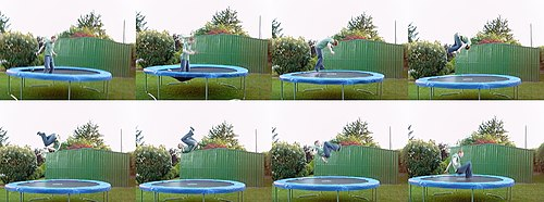 A somersault performed on a trampoline.