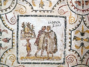 Ianuarius - Ianuarius panel of the months mosaic from El Djem, Tunisia (Roman Africa), in which March is represented as the first month (3rd century AD)