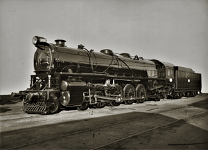 "South Australian Railways 500 Class Locomotive No. 502 ""James McGuire"". Approximately 1926. State Library of South Australia B 3994.png"