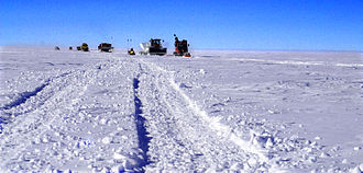 Ice road - Cargo caravan on the South Pole Traverse early 2006