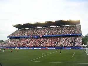 TD Place Stadium - The now-demolished south side stands during a soccer game