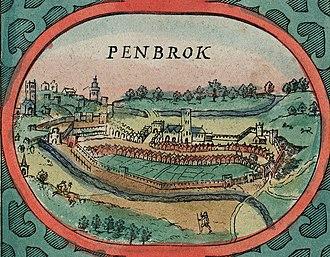 Pembroke, Pembrokeshire - Pembroke, 1610 from Speed's map of Wales