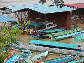 Rajang River - Speedboats and longboats are common at Kapit wharf terminal.