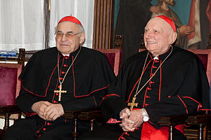 Tomáš Špidlík - Card. Špidlík (right) and Card. Miloslav Vlk on 10 December 2009, Pontificio Collegio Nepomuceno, Rome