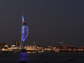 Spinnaker Tower - Spinnaker Tower at night in 2005