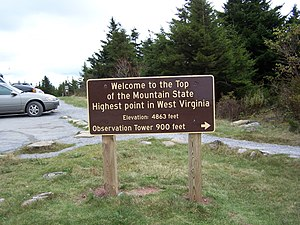 Spruce Knob - Sign noting elevation (4863 feet) at beginning of trail