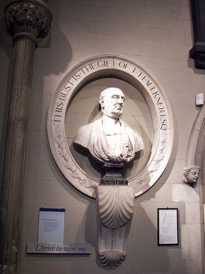 Anglo-Irish people - Marble bust of The V. Rev. Jonathan Swift, inside St Patrick's Cathedral, Dublin.  Swift was Dean of St Patrick's from 1713 to 1745.
