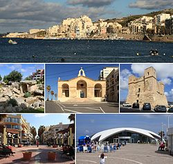 From top: Skyline, Buġibba Temple, St. Paul's Shipwreck Church, Wignacourt Tower, Buġibba square, Malta National Aquarium