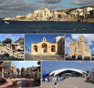 St. Paul's Bay - From top: Skyline, Buġibba Temple, St. Paul's Shipwreck Church, Wignacourt Tower, Buġibba square, Malta National Aquarium