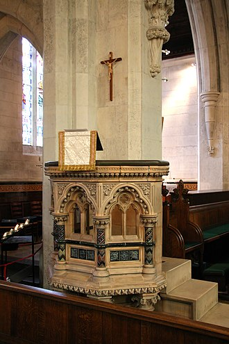 George Tinworth - The pulpit in St. Alban's Anglican Church in Copenhagen, Denmark, donated by Doulton and designed by Tinworth
