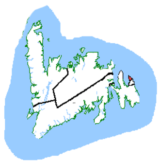 St. John's East - St. John's East in relation to other Newfoundland and Labrador ridings