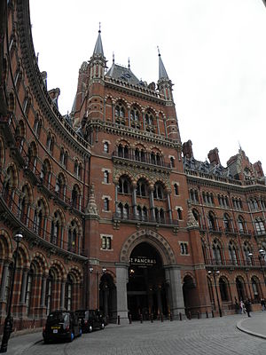 Euston Road - The St Pancras Hotel opened as the Midland Hotel in 1873 and fronts St Pancras station.