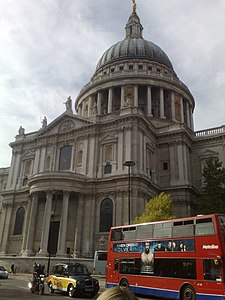 St Pauls Cathedral with bike, taxi & bus, 5 May 2009.jpg