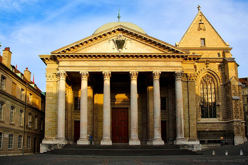 Geneva, Switzerland - Saint Peter Cathedral is the church where John Calvin preached most of his life
