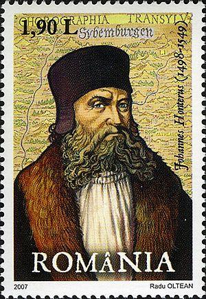 Johannes Honter - Johannes Honterus on a 2007 Romanian stamp