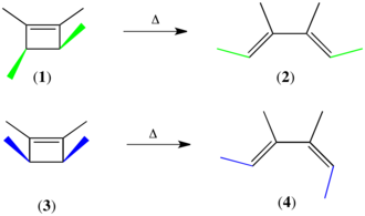 Woodward–Hoffmann rules - The Woodward-Hoffmann rules in action:  Thermolysis of 1 yields the (E,E) geometric isomer, whereas thermolysis of 3 yields the (E,Z) geometric isomer.