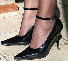 A shoe with a stiletto heel
