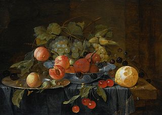 Still life of fruit on a pewter plate and in a Wan-li Kraak bowl