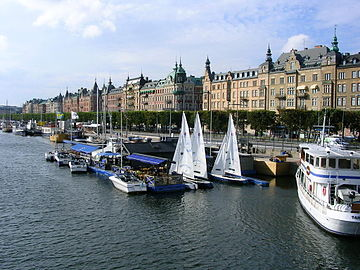 Strandvagen as seen from the island of Djurgarden. Stockholm Port.jpg