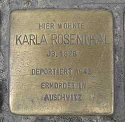 Photo of Karla Rosenthal brass plaque