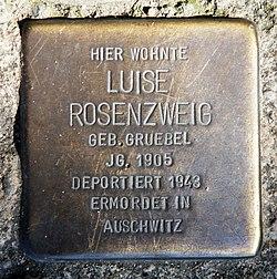 Photo of Luise Rosenzweig brass plaque