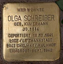 Photo of Olga Schreiber brass plaque