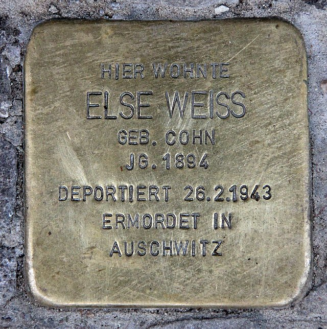 Photo of Else Weiss brass plaque