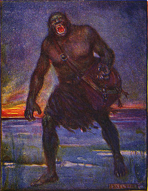 Battle of Finnsburg - Illustration by J. R. Skelton of the giant Grendel from earlier in Beowulf. See also a list of artistic depictions of Grendel.