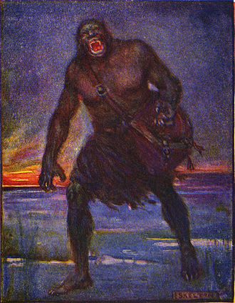 "Grendel - An illustration of Grendel by J. R. Skelton from Stories of Beowulf. Grendel is described as ""Very terrible to look upon."""