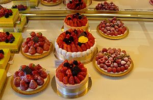 Strawberry cake - Strawberry cream cakes in a Brysselian confectionery shop