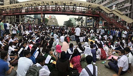Students organise a sit-in to block roads Students Blocked Road for safe Road 10.jpg