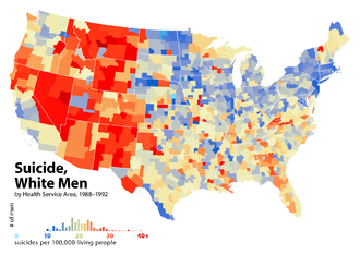 Epidemiology of suicide - United States suicide rates for white men, by Health Service Area, 1988–1992. This map and the map below use the same color scale: note the large difference in rates between men and women. The regional patterns for men and women are similar, but not the same.