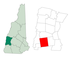 Location in Sullivan County, New Hampshire[1]