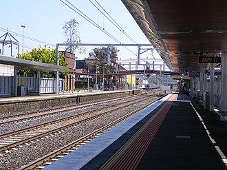 Sunbury railway station, Melbourne - Northbound view from Platform 1 in November 2012