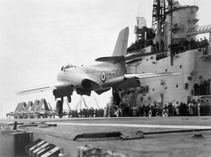 Supermarine 525 on HMS Centaur (R06) 1955.jpg