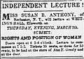 Susan B. Anthony lecture, Ellsworth, Maine, March 5, 1857.jpg