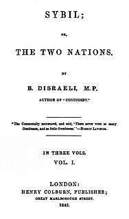 <i>Sybil</i> (novel) 1845 novel by Benjamin Disraeli