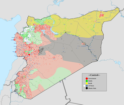 Image: User:NordNordWest and User:User:Spesh531. ██ Controlled by the Syrian Armed Forces ██ Controlled by the People's Protection Units (Kurdish Forces) ██ Controlled by the Islamic State of Iraq and the Levant ██ Controlled by the National Coalition for Syrian Revolutionary and Opposition Forces (Opposition Forces) ██ Controlled by the al-Nusra Front ██ The disputed frontline between the forces