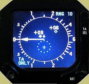 Traffic collision avoidance system - Combined TCAS and IVSI cockpit display (monochrome)